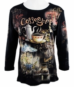 Cactus Fashion - Coffee Shop, 3/4 Sleeve, Rhinestone Studded, Artfully Printed Black Colored Womens Cotton Top