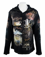 Cactus Fashion - Coffee Shop, Rhinestone Studded, Artfully Printed Black Colored Womens Hoodie Top