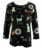 Cactus Fashion - Dog & Ornament, 3/4 Sleeve, Rhinestone Studded, Artfully Printed Black Colored Womens Cotton Top