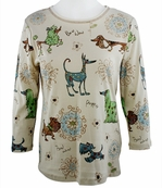 Cactus Fashion - Dog & Ornament, 3/4 Sleeve, Rhinestone Studded, Artfully Printed, Ivory Colored Womens Cotton Top