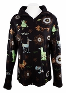 Cactus Fashion - Dog & Ornament, Rhinestone Studded, Artfully Printed Black Colored Womens Hoodie Top