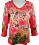Cactus Fashion - Dragonflies, 3/4 Sleeve, Rhinestone Studded, Artfully Printed Mango Colored Womens Cotton Top