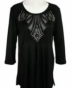 Cactus Fashion - Dynasty, 3/4 Sleeve, Rhinestone Studded, Artfully Printed Womens Black Cotton Top