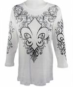 Cactus Fashion - Fleur De Lis, 3/4 Sleeve, Rhinestone Studded, Artfully Printed Cotton Bleach Colored Womens Top