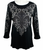 Cactus Fashion - Fleur De Lis, 3/4 Sleeve, Scoop Neck Black Print Rhinestone Top