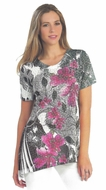Cactus Fashion - Floral Patterns, Short Sleeve, Sublimation Print Rhinestone Top
