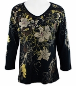 Cactus Fashion - Florales, 3/4 Sleeve, Rhinestone Studded, V-Neck Printed Cotton Black Colored Womens Top