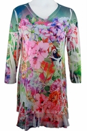 Cactus Fashion - Flower Blossom, Floral Print Rhinestone Burnout Tunic Top