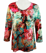 Cactus Fashion - Fuchsia Flower, Scoop Neck Sublimation Print Rhinestone Top