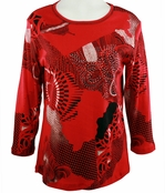 Cactus Fashion - Geometry, 3/4 Sleeve, Cotton Print Rhinestone Red Top
