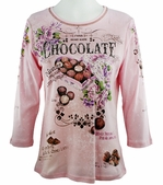 Cactus Fashion - Home Made Chocolate, 3/4 Sleeve, Rhinestone Studded, Artfully Printed Womens Pink Colored Cotton Top
