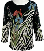 Cactus Fashion Iris & Animal Skin Black Top Cotton 3/4 Sleeve Iris & Zebra Skin