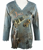 Cactus Fashion - Jazz Club, 3/4 Sleeve, Rhinestone Studded, V-Neck Printed Cotton Glacier Blue Colored Womens Top