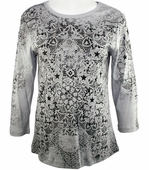 Cactus Fashion - Lace Pattern, 3/4 Sleeve, Printed Cotton Rhinestone Top