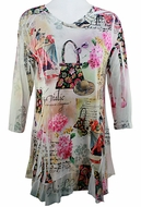 Cactus Fashion - Lady & Handbag, Contemporary Print Rhinestone Burnout Tunic