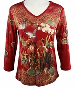 Cactus Fashion - Orchids & Cranes, 3/4 Sleeve, Rhinestone Studded, Artfully Printed Crimson Red Colored Womens Cotton Top