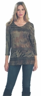 Cactus Fashion - Paisley Patterns, Jersey Sublimation V-Neck Rhinestone Top