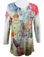 Cactus Fashion Paris Bicycle 3/4 Sleeve Sublimation Burnout Print Rhinestone Top