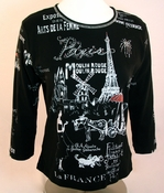 Cactus Fashion - Paris & Coach, 3/4 Sleeve, Rhinestone Studded, Artfully Printed Cotton Black Colored Womens Top