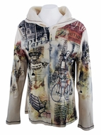 Cactus Fashion - Paris View, Rhinestone Studded, Artfully Printed Ivory Colored Womens Hoodie Top