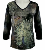 Cactus Fashion - Peacock, 3/4 Sleeve, Rhinestone Studded, Artfully Printed Womens Black Cotton Top