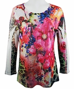 Cactus Fashion Pink Flowers, 3/4 Sleeve Sublimation Burnout Print Rhinestone Top