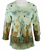 Cactus Fashion - Puppy & Kitty, 3/4 Sleeve, Rhinestone Studded, Artfully Printed Cotton Pale Sage Colored Womens Top