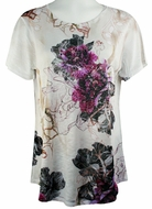 Cactus Fashion - Purple Floral, Short Sleeve, Scoop Neck Rhinestone Print Top