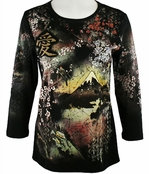 Cactus Fashion - Sakura , 3/4 Sleeve, Rhinestone Studded, Artfully Printed, Black Colored Womens Cotton Top