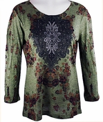 Cactus Fashion - Scattered Leaves, 3/4 Sleeve, Sublimation Print Rhinestone Top