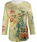 Cactus Fashion Singing Birds Yellow Top Cotton 3/4 Sleeve Birds on Twigs Design