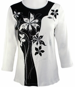 Cactus Fashion Solid Flower Bleach Top Cotton 3/4 Sleeve Bold Floral Design