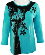Cactus Fashion Solid Flower Julep Top Cotton 3/4 Sleeve Bold Floral Aqua Design