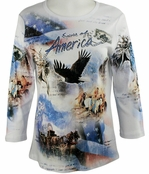 Cactus Fashion Spirit of America White Cotton Top w/ 3/4 Sleeves Soaring Eagle