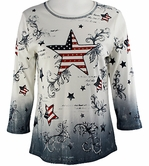 Cactus Fashion - Stars & Stripes II, Bleach Colored Rhinestone Accented Cotton Print Top