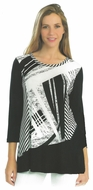 Cactus Fashion - Striped Roads, 3/4 Sleeve, Printed Viscose Tunic Top