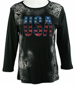 Cactus Fashion - USA, 3/4 Sleeve Scoop Neck, Printed Cotton Rhinestone Top