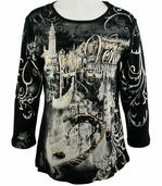 Cactus Fashion - Venice, 3/4 Sleeve Scoop Neck Cotton Print Rhinestone Black Top