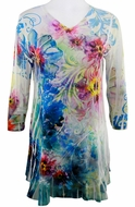 Cactus Fashion - Water Color Flower, Floral Print Rhinestone Burnout Tunic Top