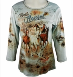 Cactus Fashion - West Horses, 3/4 Sleeve, Rhinestone Studded, Artfully Printed Cotton Pale Blue Colored Womens Top