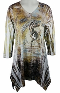 Cactus Fashion - Wild West, 3/4 Sleeve Sublimation Burnout Rhinestone Print Top