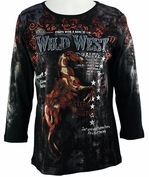 Cactus Fashion Wild West 5 Black Top Cotton 3/4 Sleeves w/ Grand Horse Print