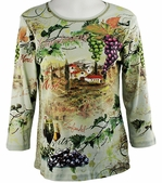 Cactus Fashion Winery Tours Sage Cotton Top Tee 3/4 Sleeves with Vineyard Print