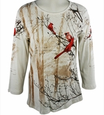 Cactus Fashion - Winter Birds, Scoop Neck, Rhinestone Studded, Artfully Printed White Colored Womens Top