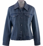 Christine Alexander Cotton Spandex Blend Women's Fashion Denim Jacket Accented with Swarovski Crystals - Crystal Lines