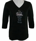 Christine Alexander Swarovski Crystal, 3/4 Sleeve, Scoop Neck Black Top - Better Latte than Never