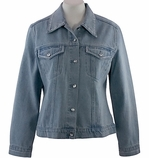 Christine Alexander Swarovski Crystal Fitted Light Denim Jacket