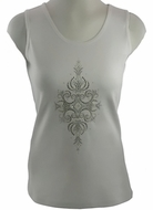 Christine Alexander V-Neck, Cotton Spandex Blend Women's Fashion Tank Top, White Colored Print Accented with Swarovski Crystals - Aurora Pearl