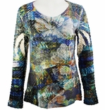 Cubism 3/4 Sleeve Lurex Thread Top, Scoop Neck, Multi-Colored Sublimation Burnout Print - Ruffled Flowers