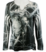 Cubism 3/4 Sleeve Lurex Thread Top, Split V-Neck, Multi Colored Layered Print - Outer Limits